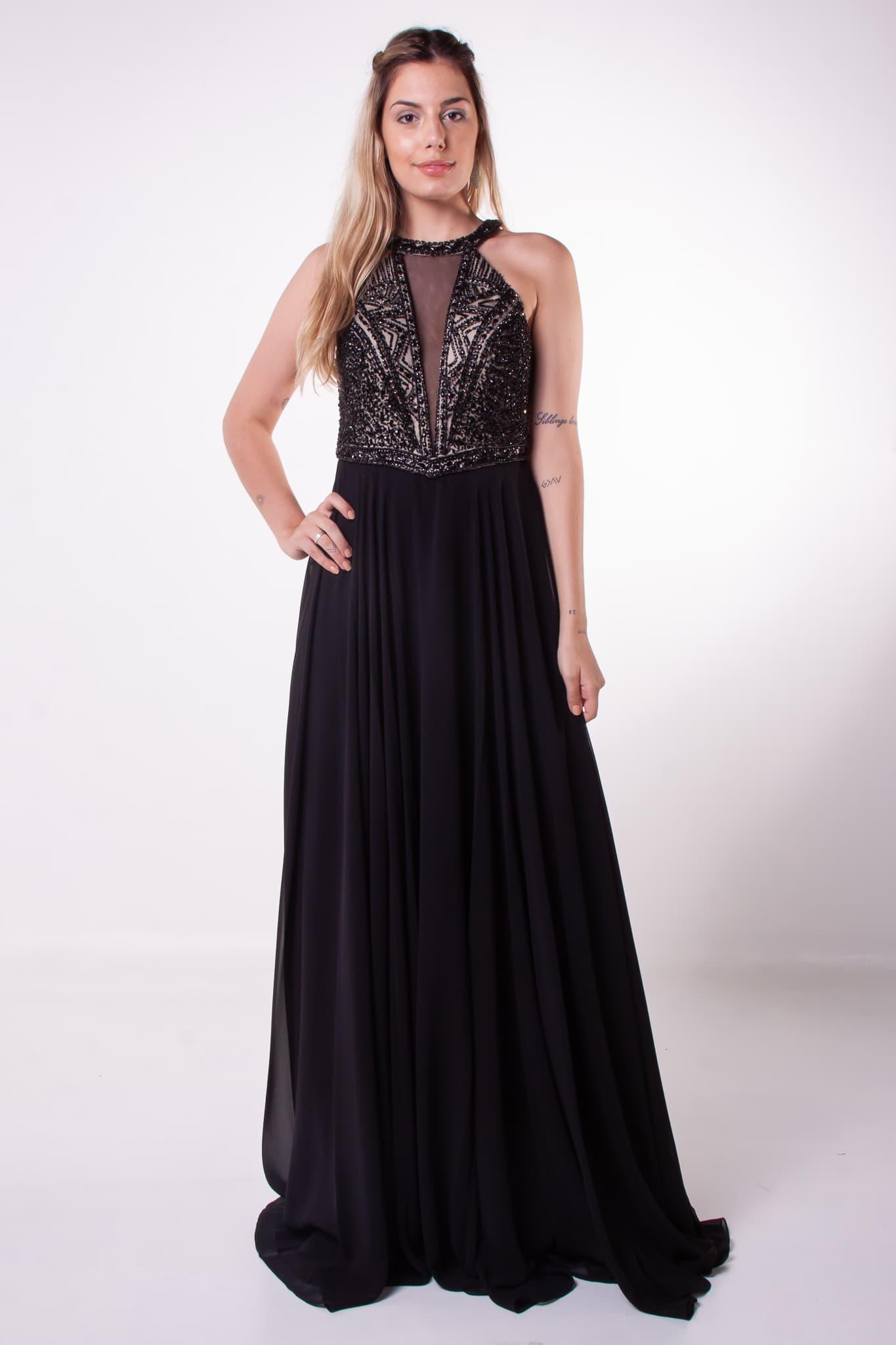 241 - Vestido preto fluido com corpo bordado