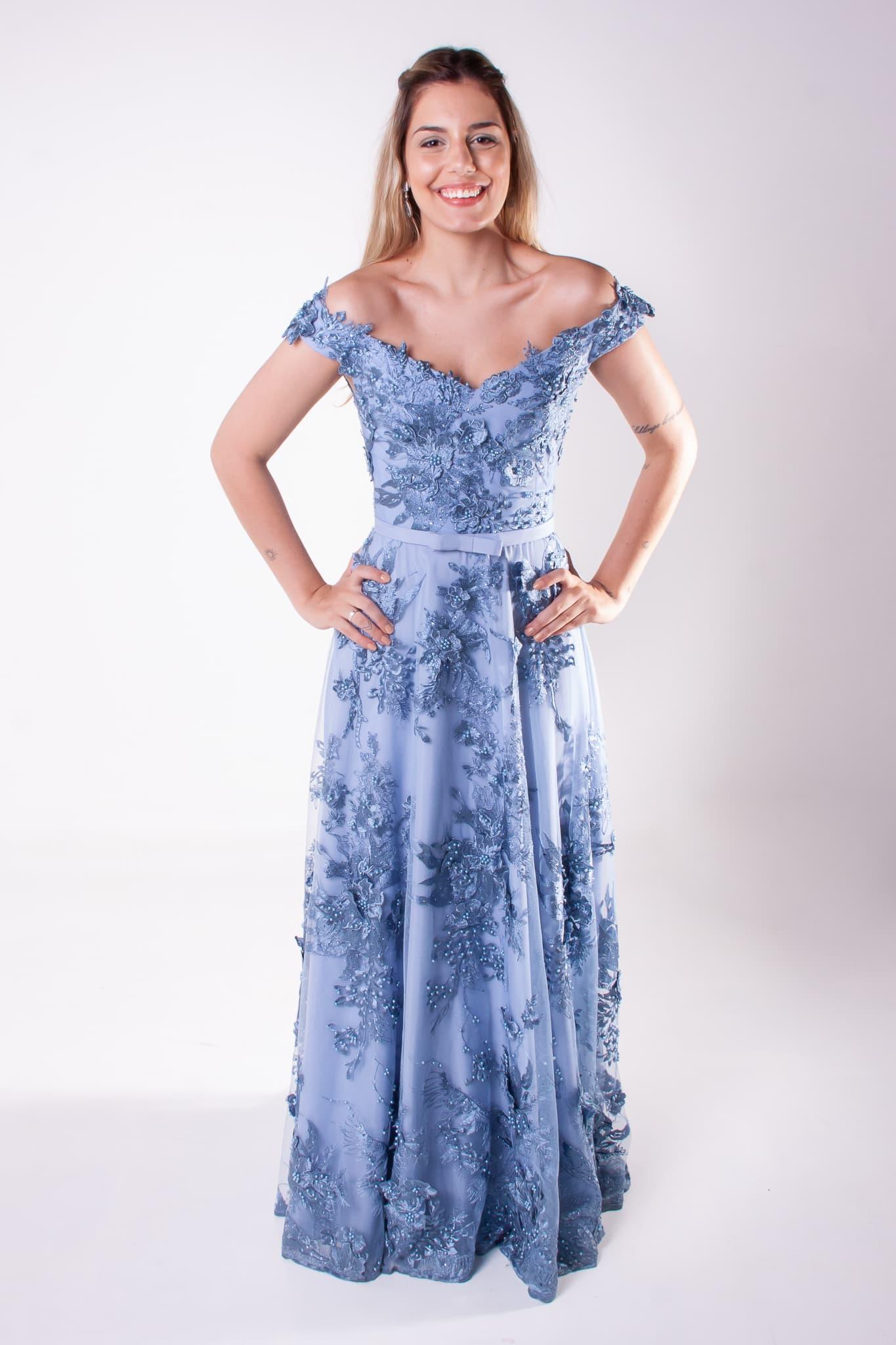 44 - Vestido azul serenity ombro a ombro de renda