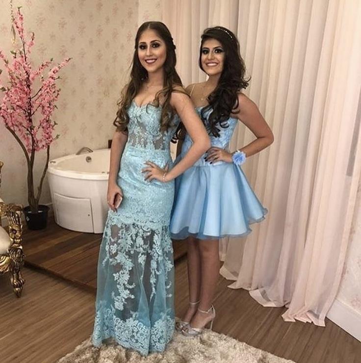 104 - Vestidos azul tiffany longo e curto