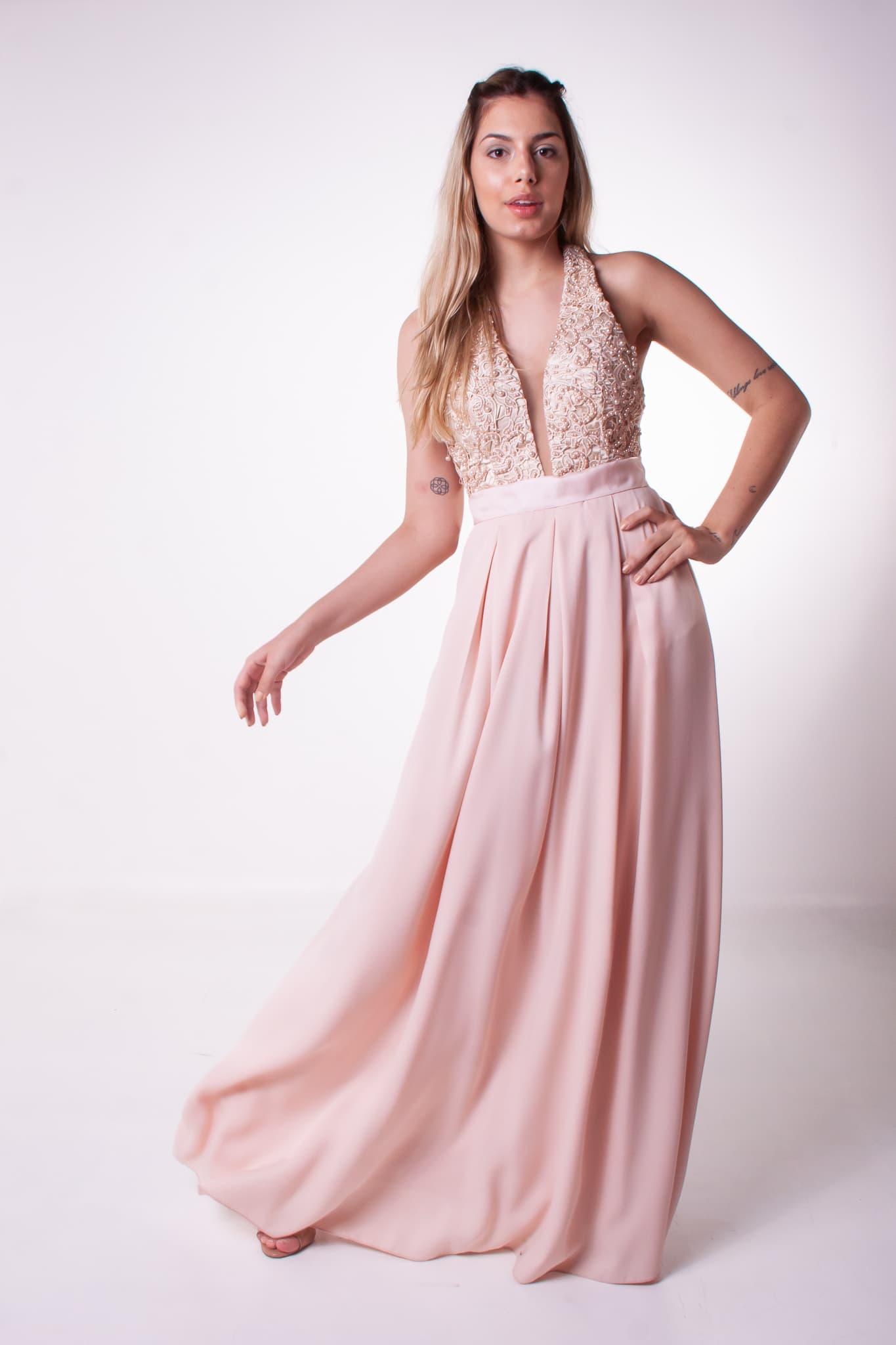 15 - vestido rosê frente única