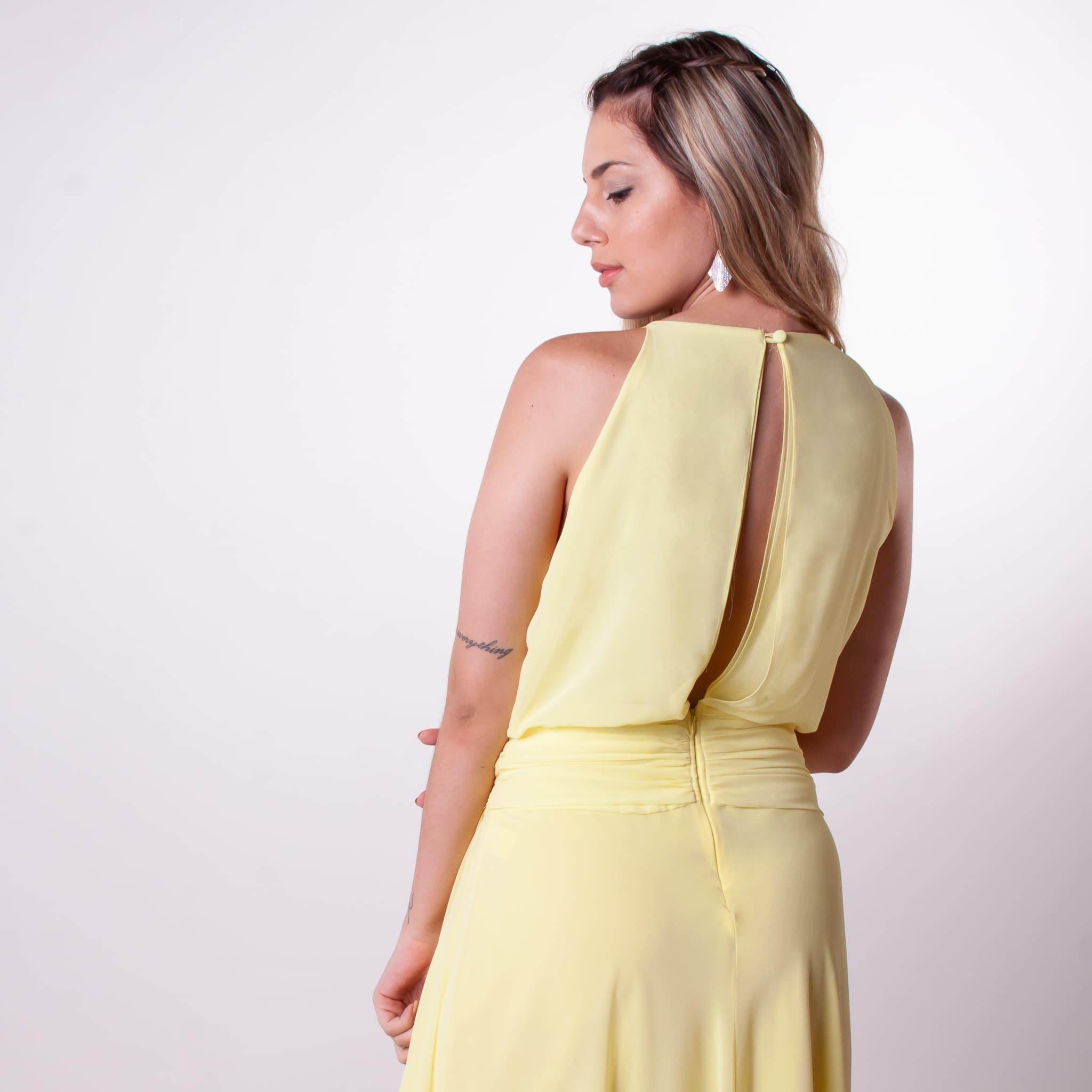 2 - Vestido amarelo fluido detalhe costas