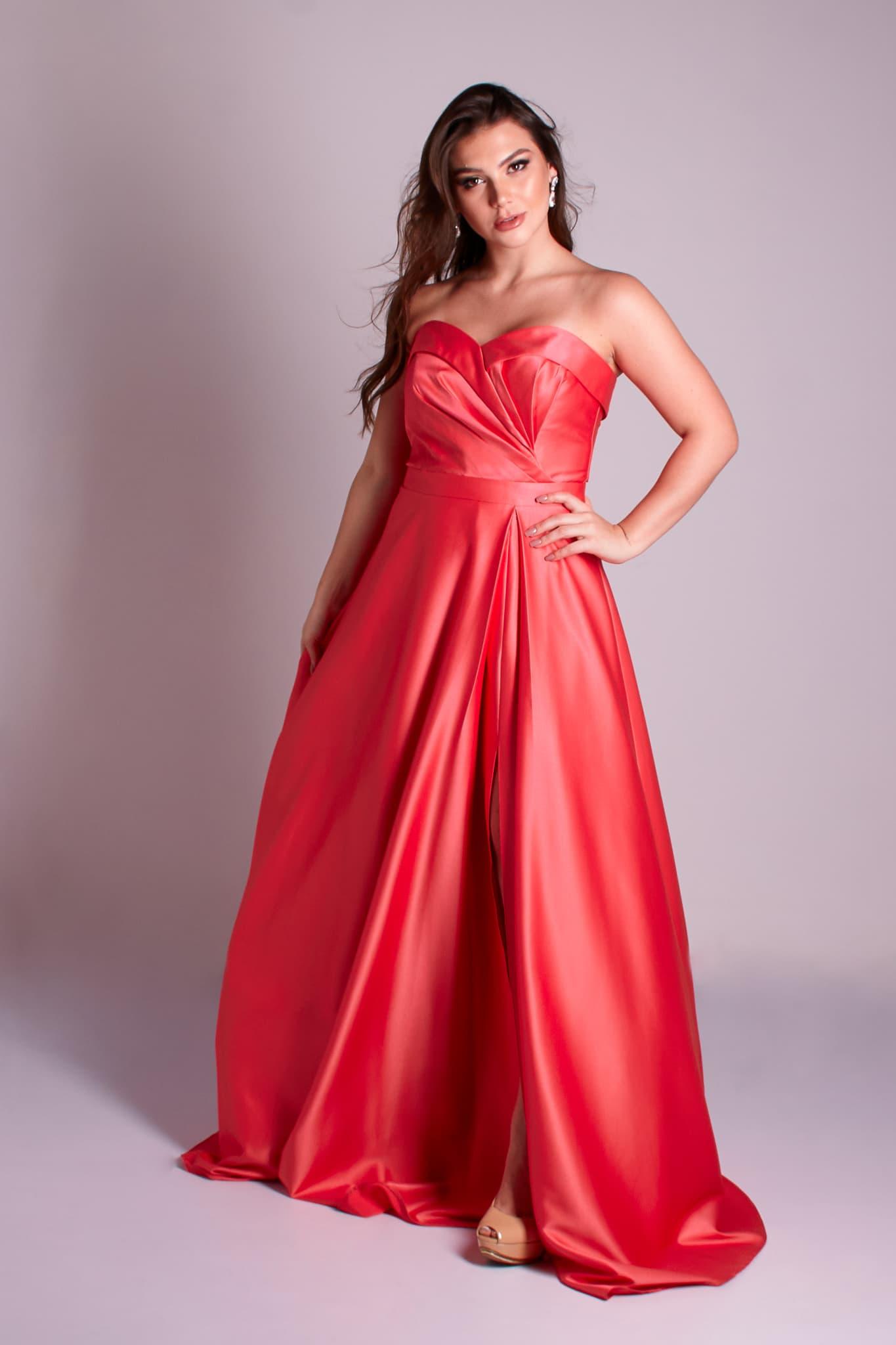 25 - vestido coral ou rosa chiclete de zibeline com fenda