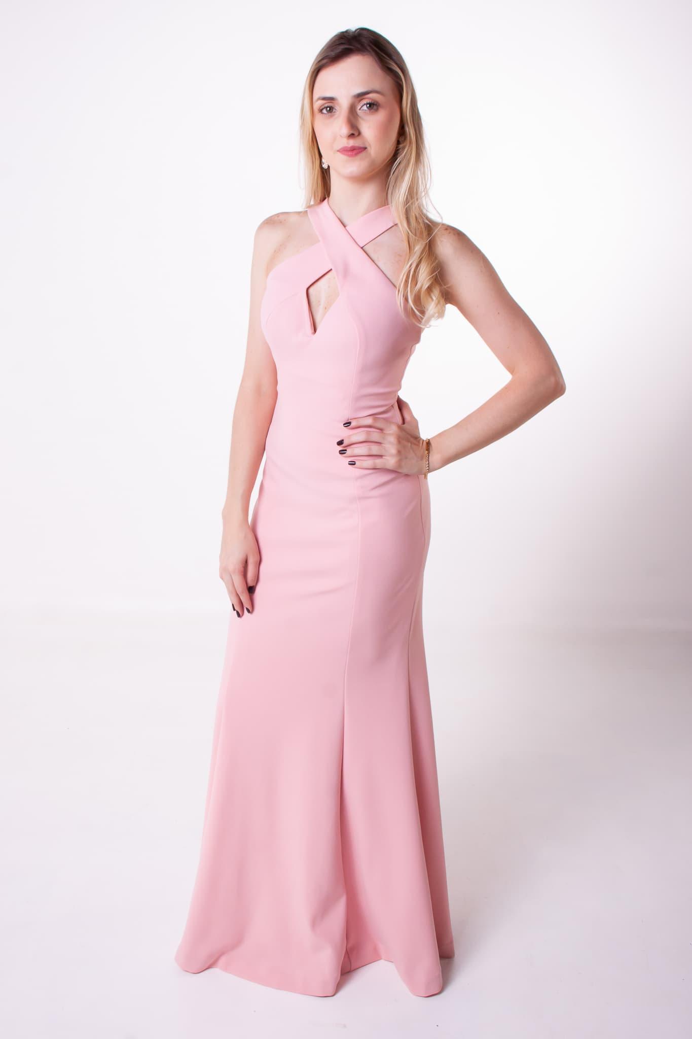 12 - Vestido rosê cruzado frente
