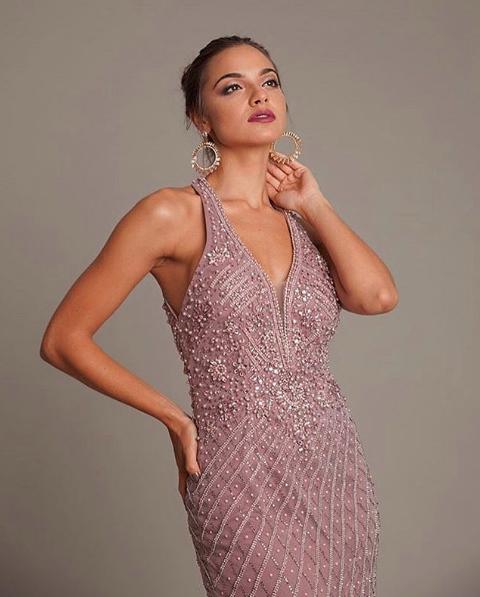 119 - Vestido rosê em pedraria sereia com decote V