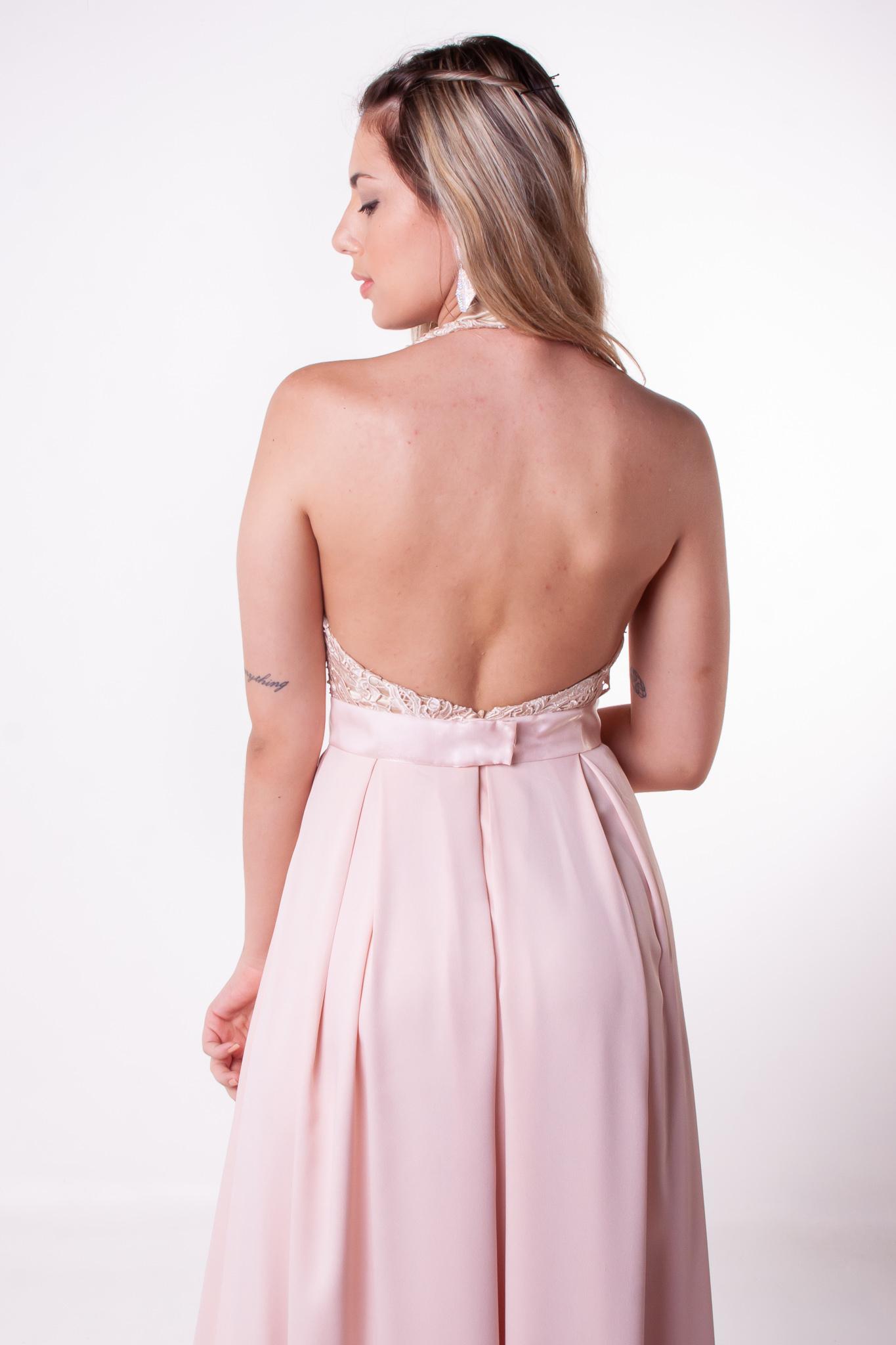 16 - Vestido rosê open back