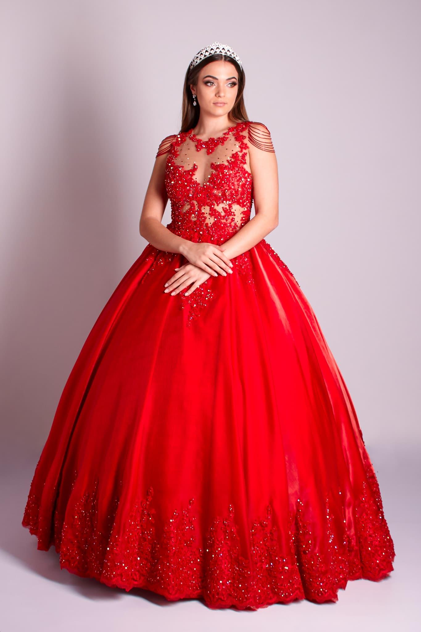 86 - Vestido vermelho de valsa feito em renda com cristais