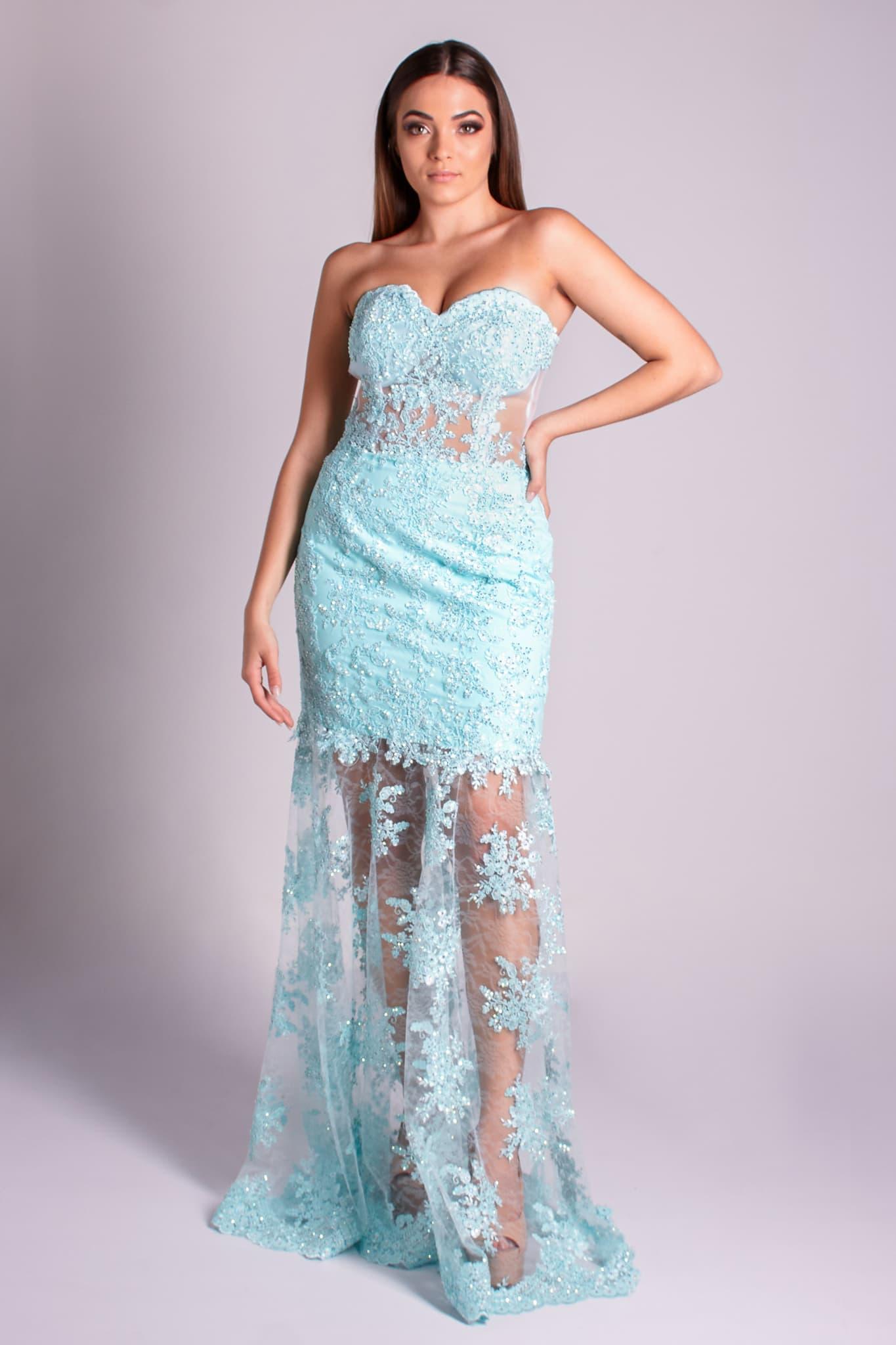 110 - Vestido azul serenity de renda com cristais e transparência