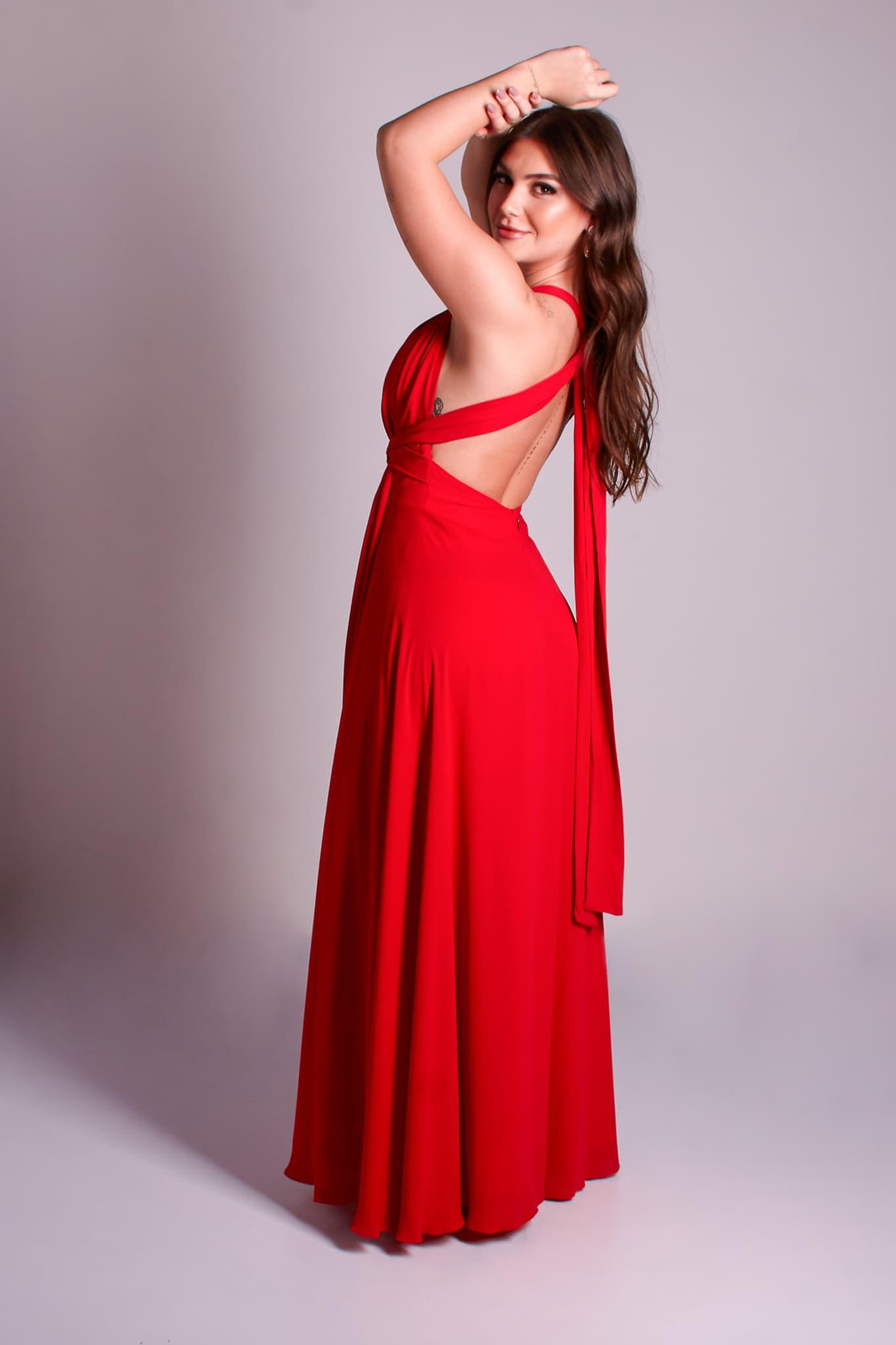 31 - vestido vermelho fluido com decote nas costas