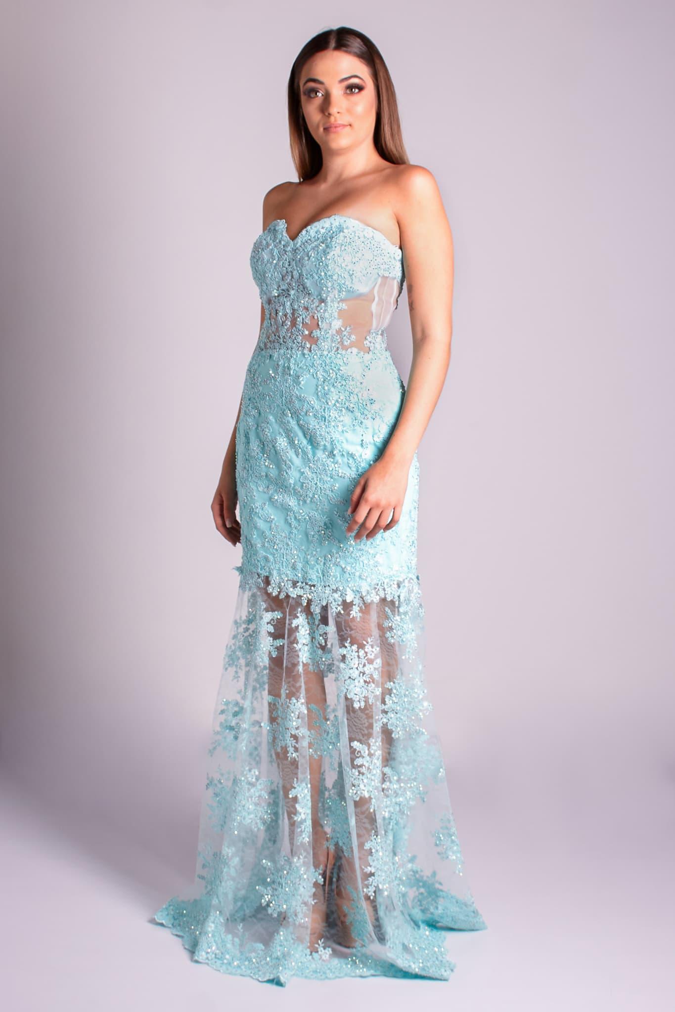 61 - vestido tiffany de renda com tranparência