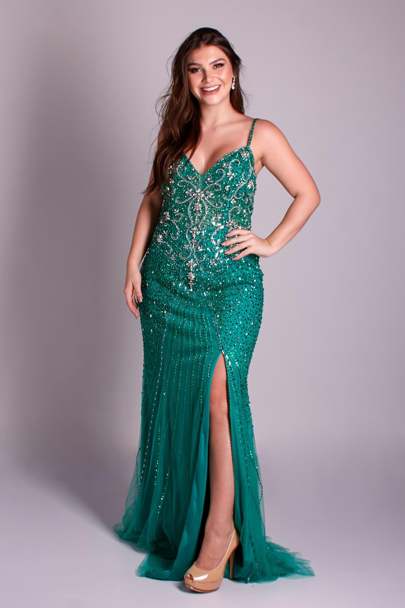 64 - vestido verde bordado com fenda e alcinhas