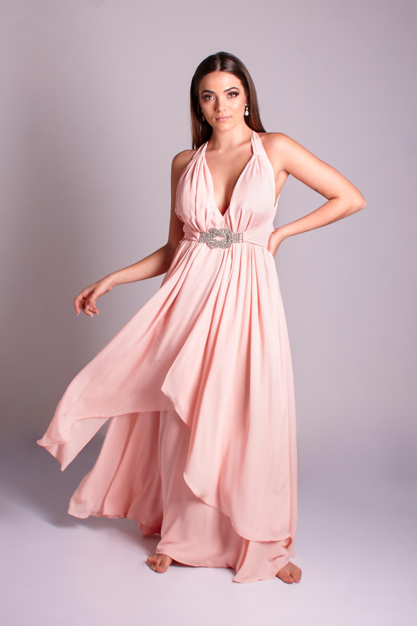 11 - vestido rosê fluido com cintinho