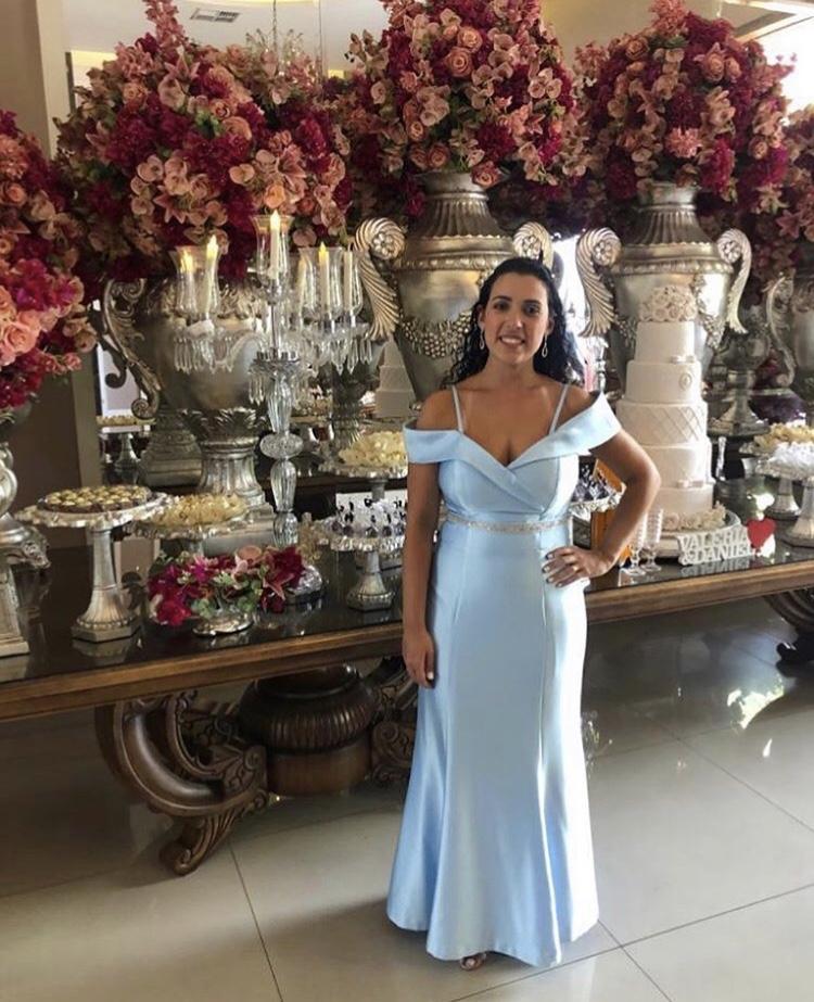 171 - Vestido sereia azul serenity ombro a ombro