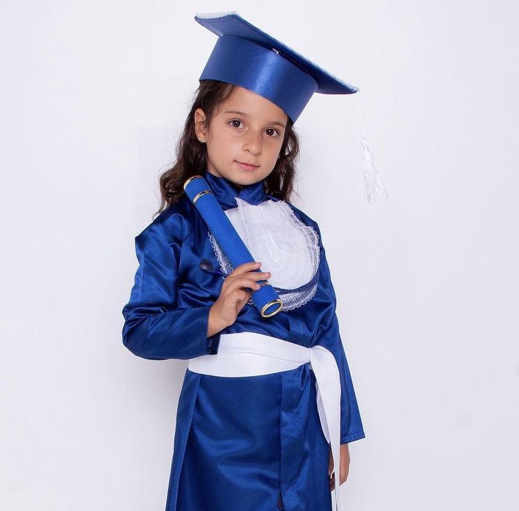 7 - beca de formatura infantil azul