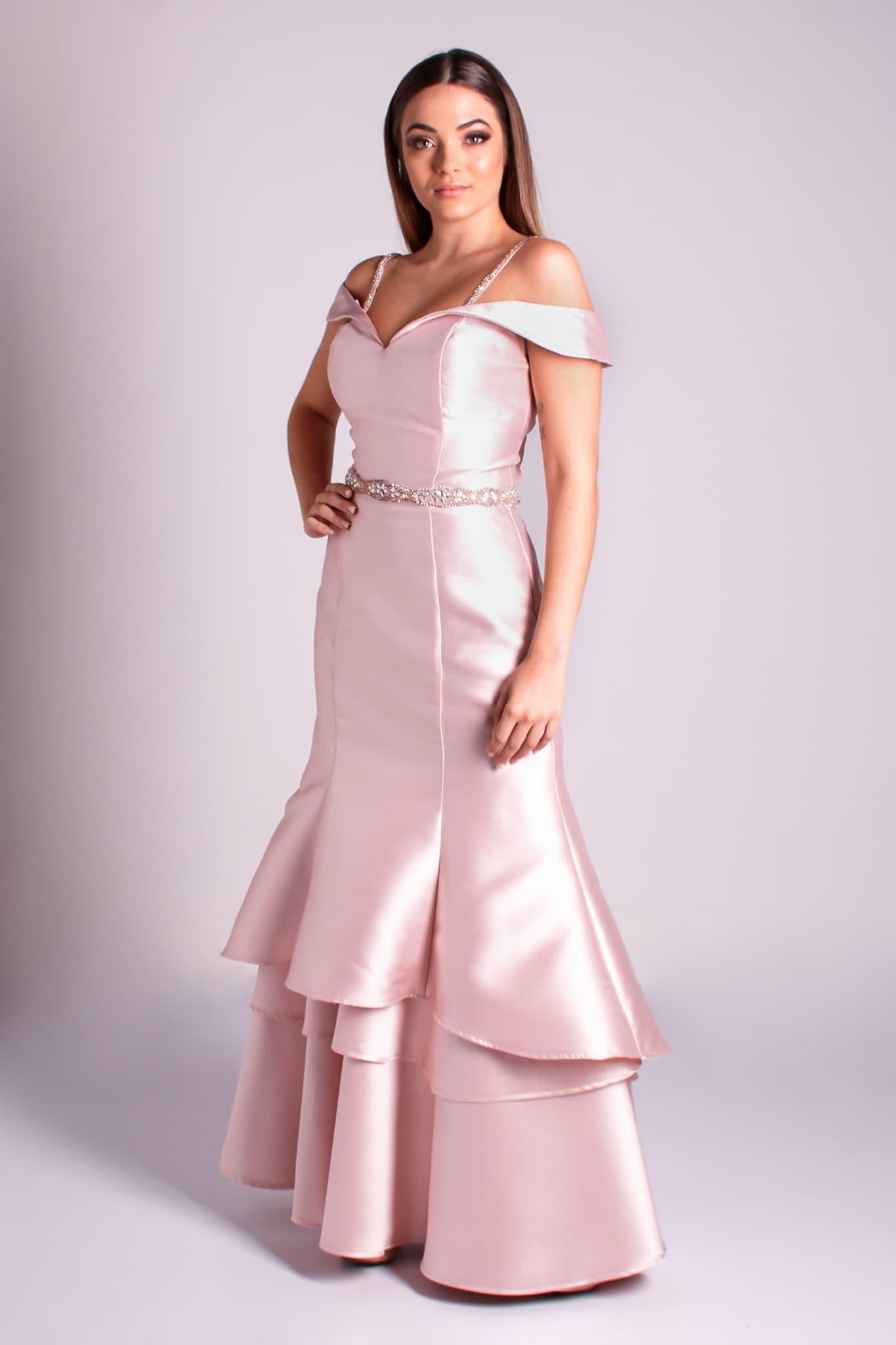 10 - vestido rosê ombro a ombro sereia com saia em camadas