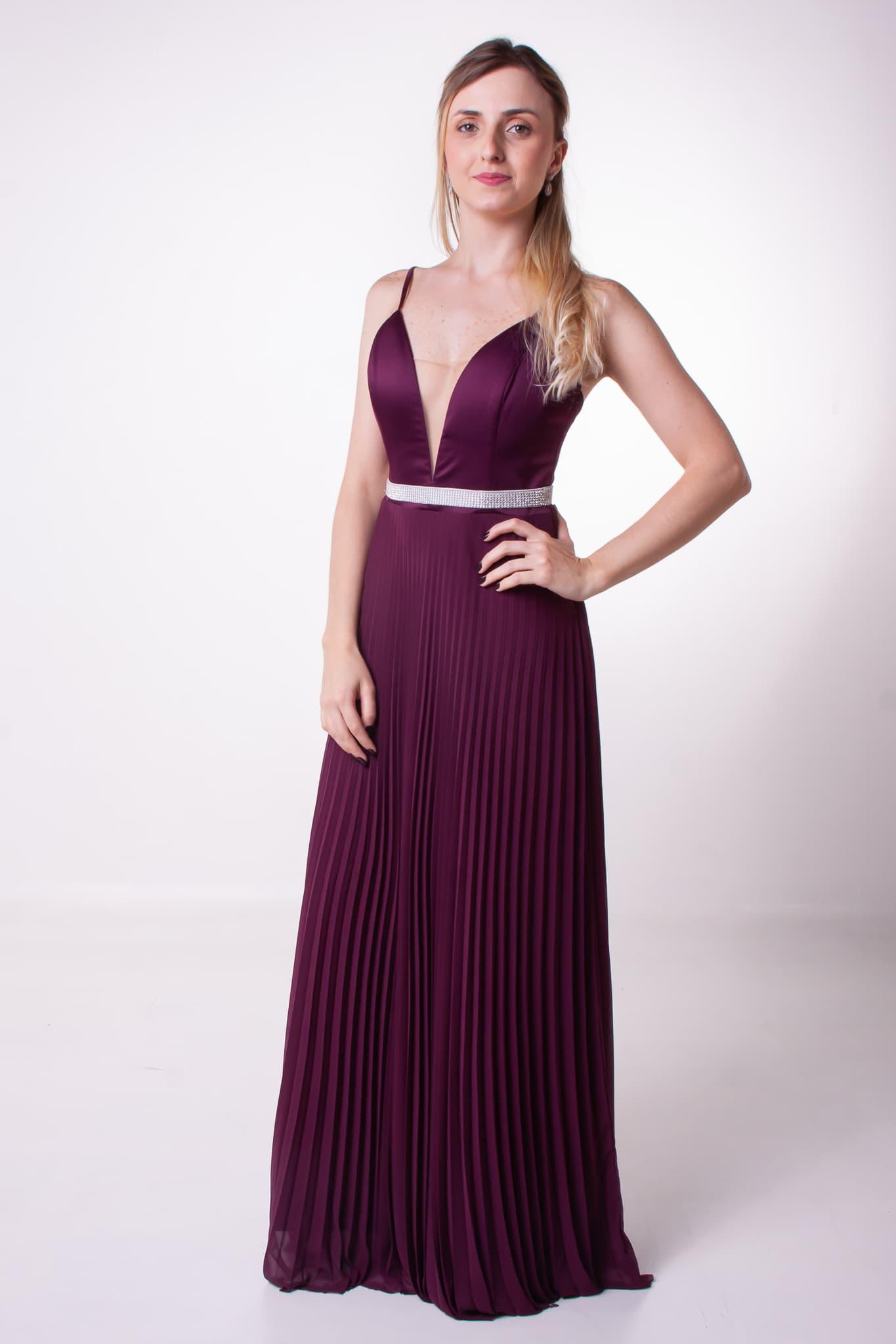 39 - Vestido uva com saia plissada