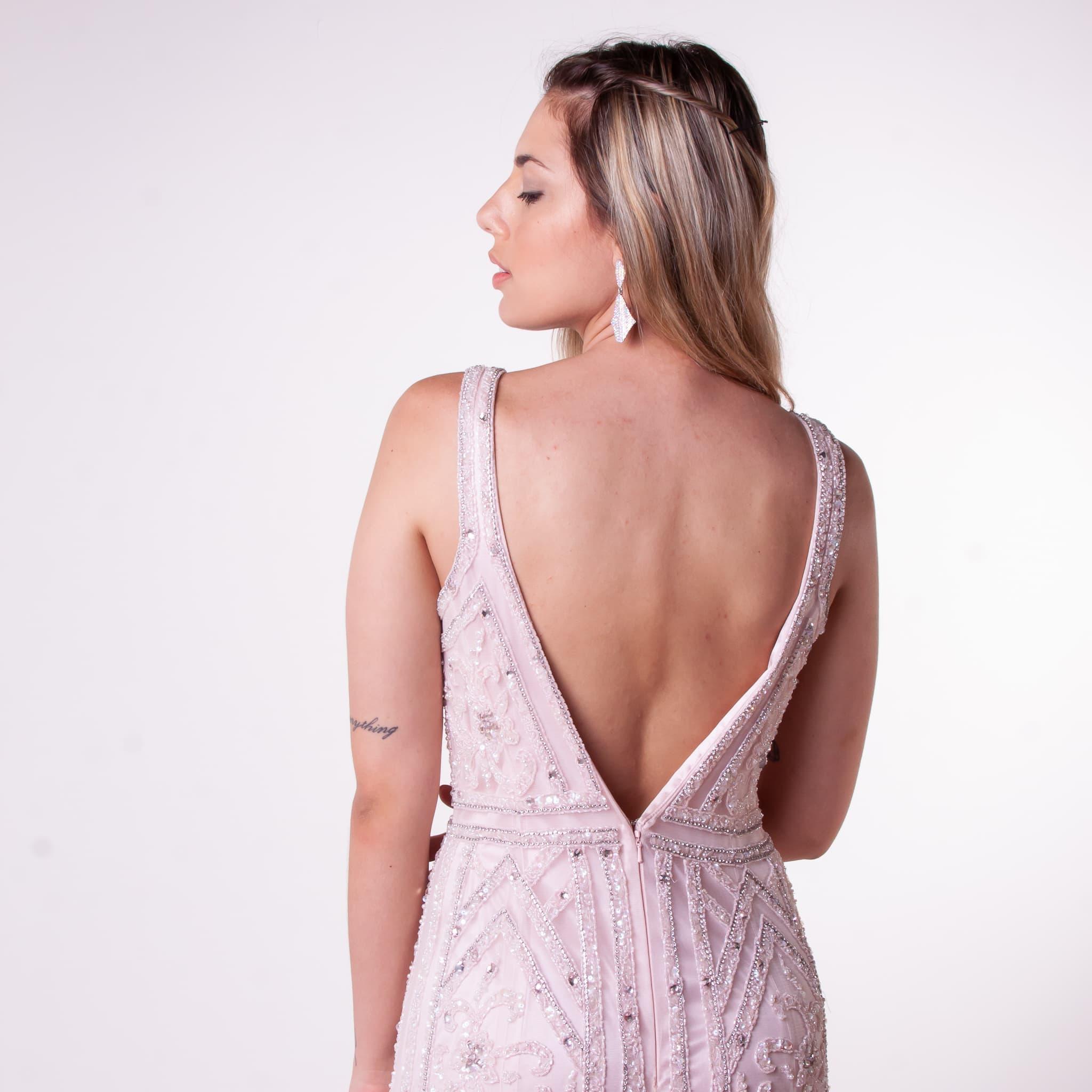 18 - Vestido rosê de tule bordado