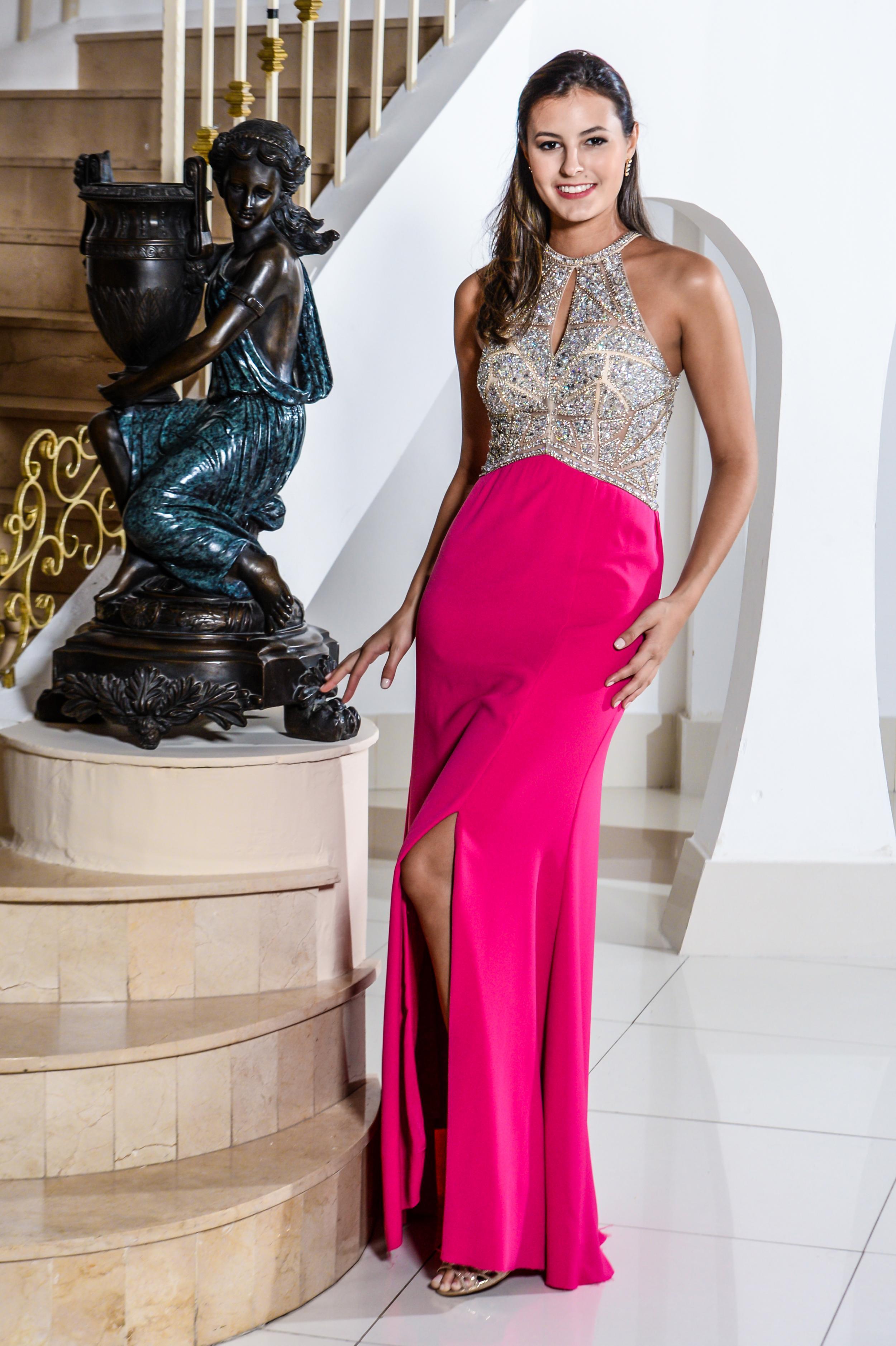 102 - Vestido pink corpo bordado em prata saia removível