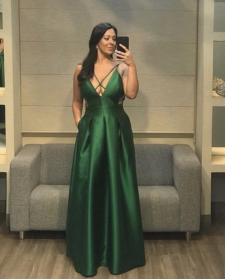 201 - vestido verde de zibeline com pregas