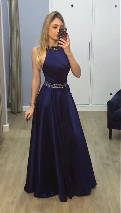 217 - vestido azul marinho de zibeline com detalhe bordado