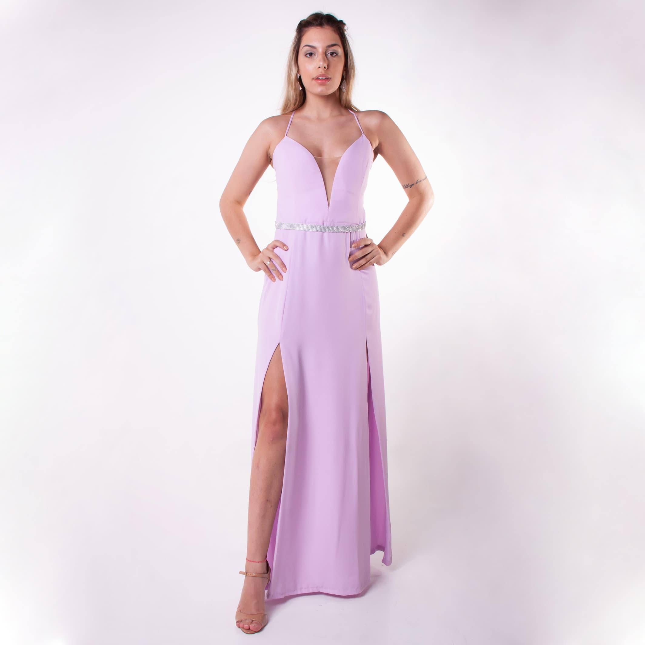 22 - Vestido lilás com fenda e cintinho