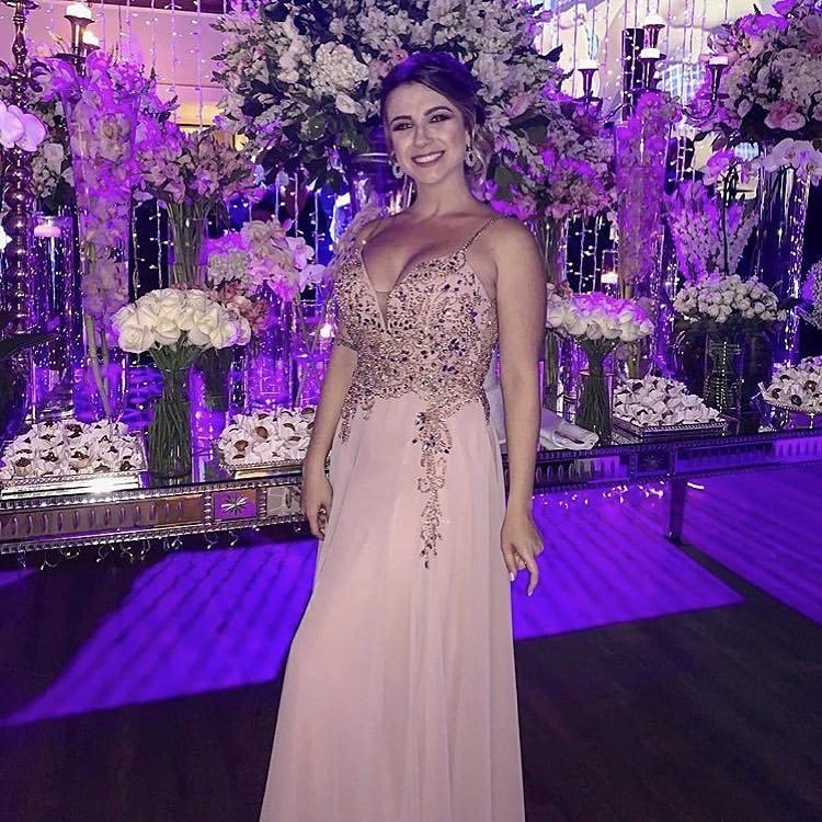 124 - Vestido rosê com pedrarias