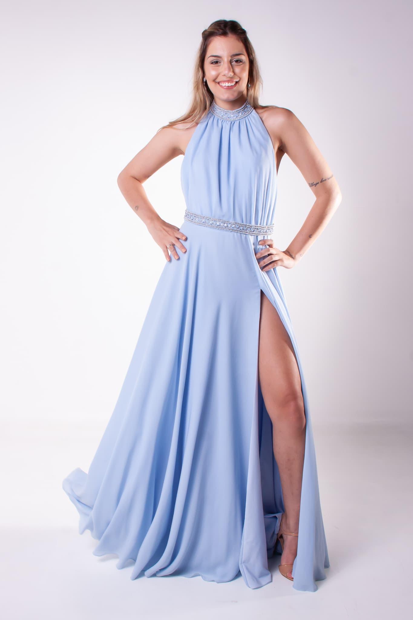 50 - Vestido azul serenity com fenda e open back
