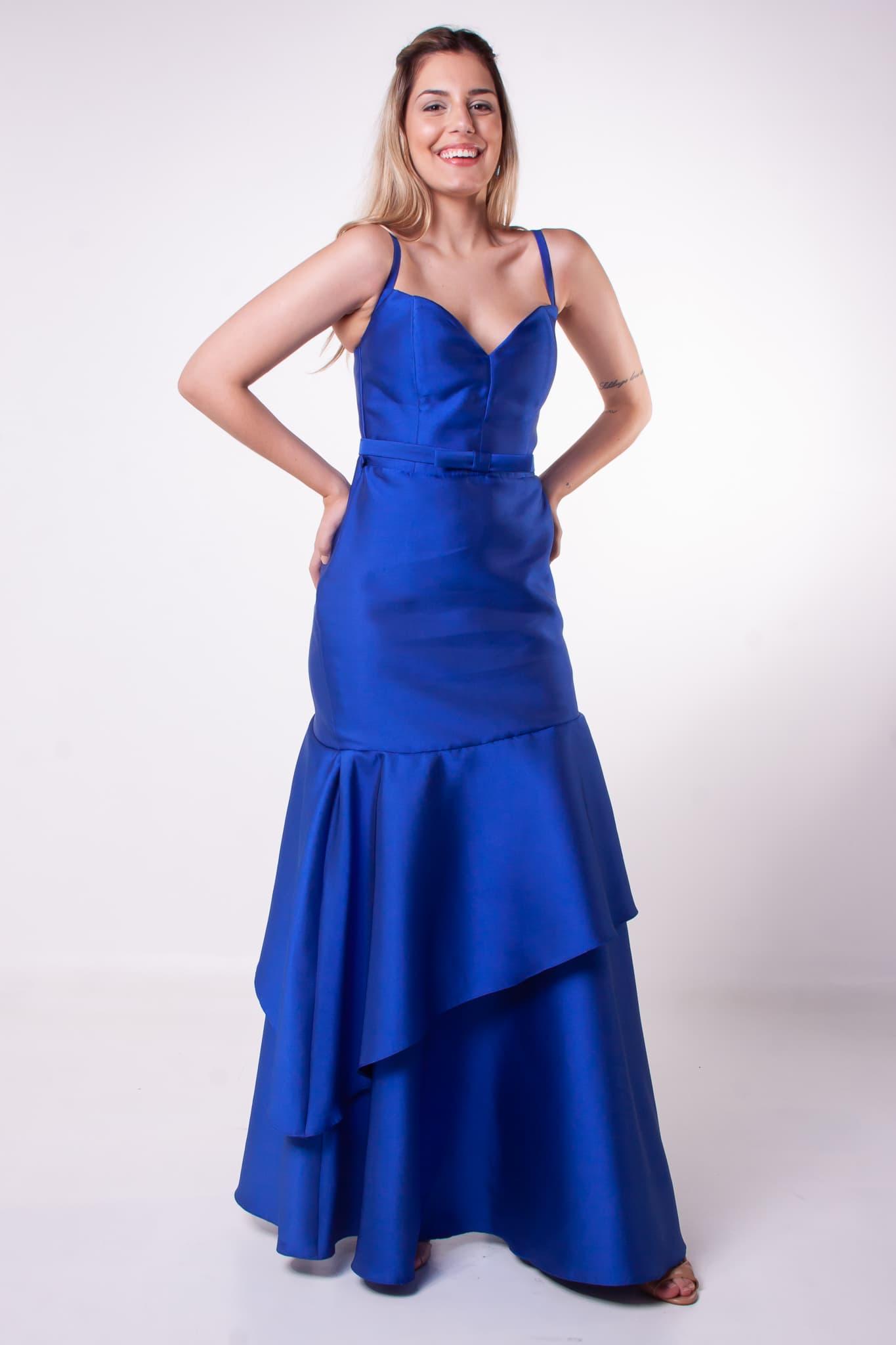 71 - Vestido azul royal de zibeline com saia em camadas