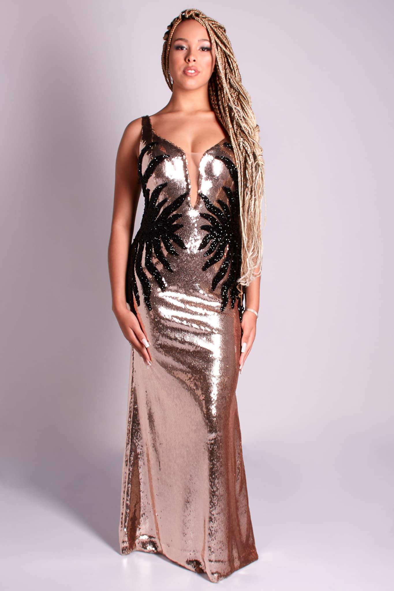 19 - vestido de paetê rose gold com detalhe em paetê preto