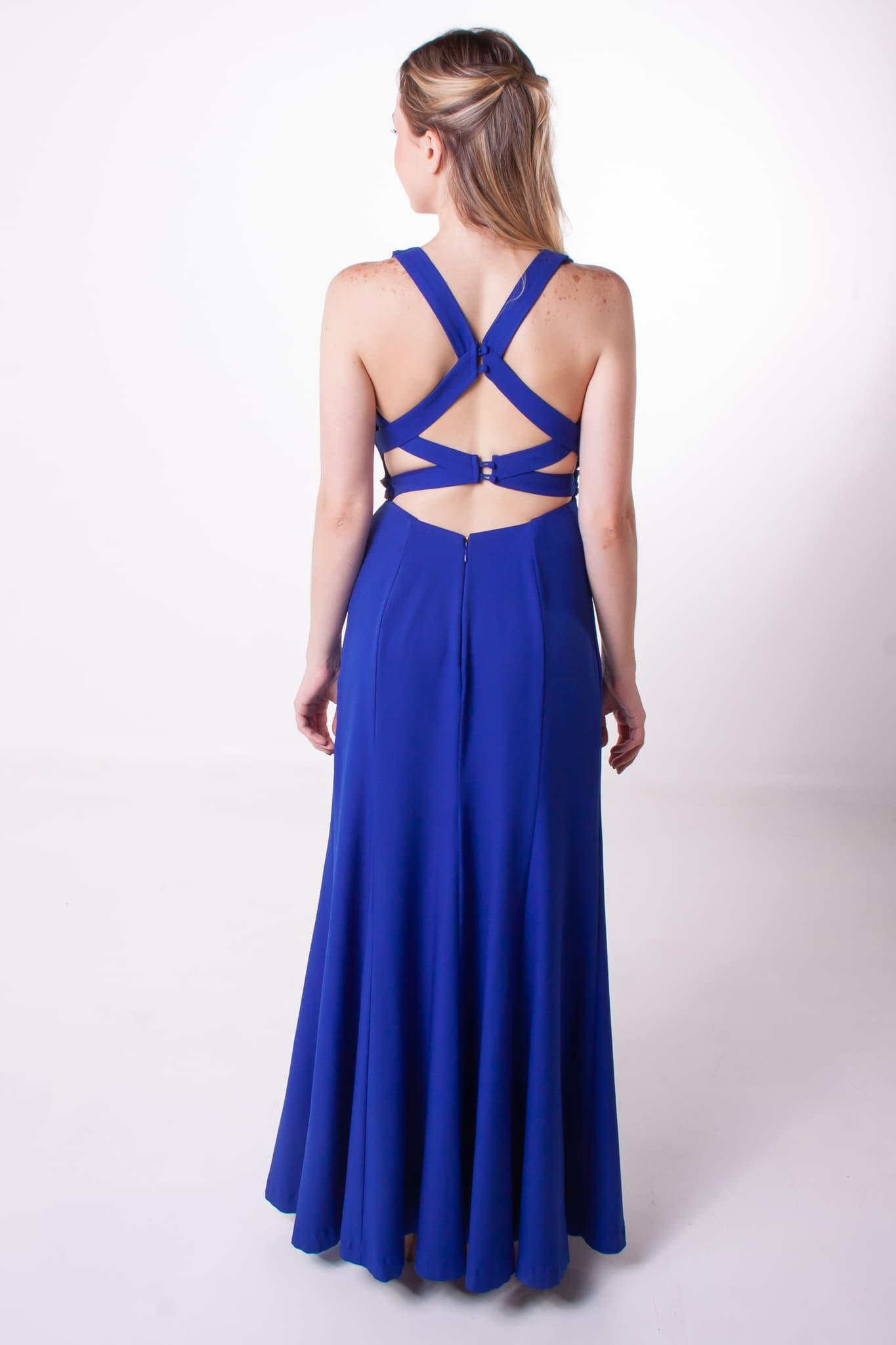 70 - Vestido azul royal com detalhe nas costas