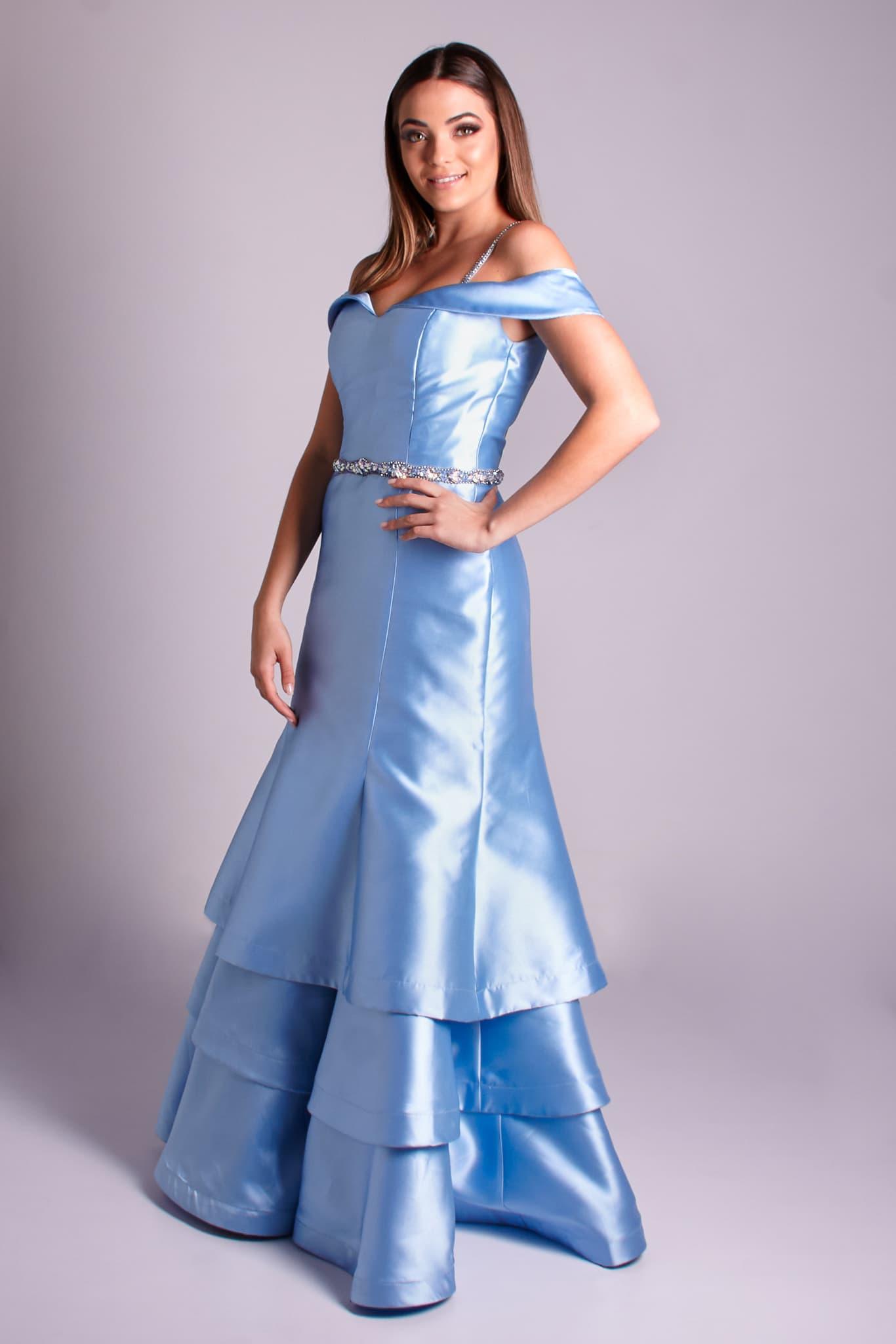 46 - vestido de zibeline azul serenity ombro a ombro