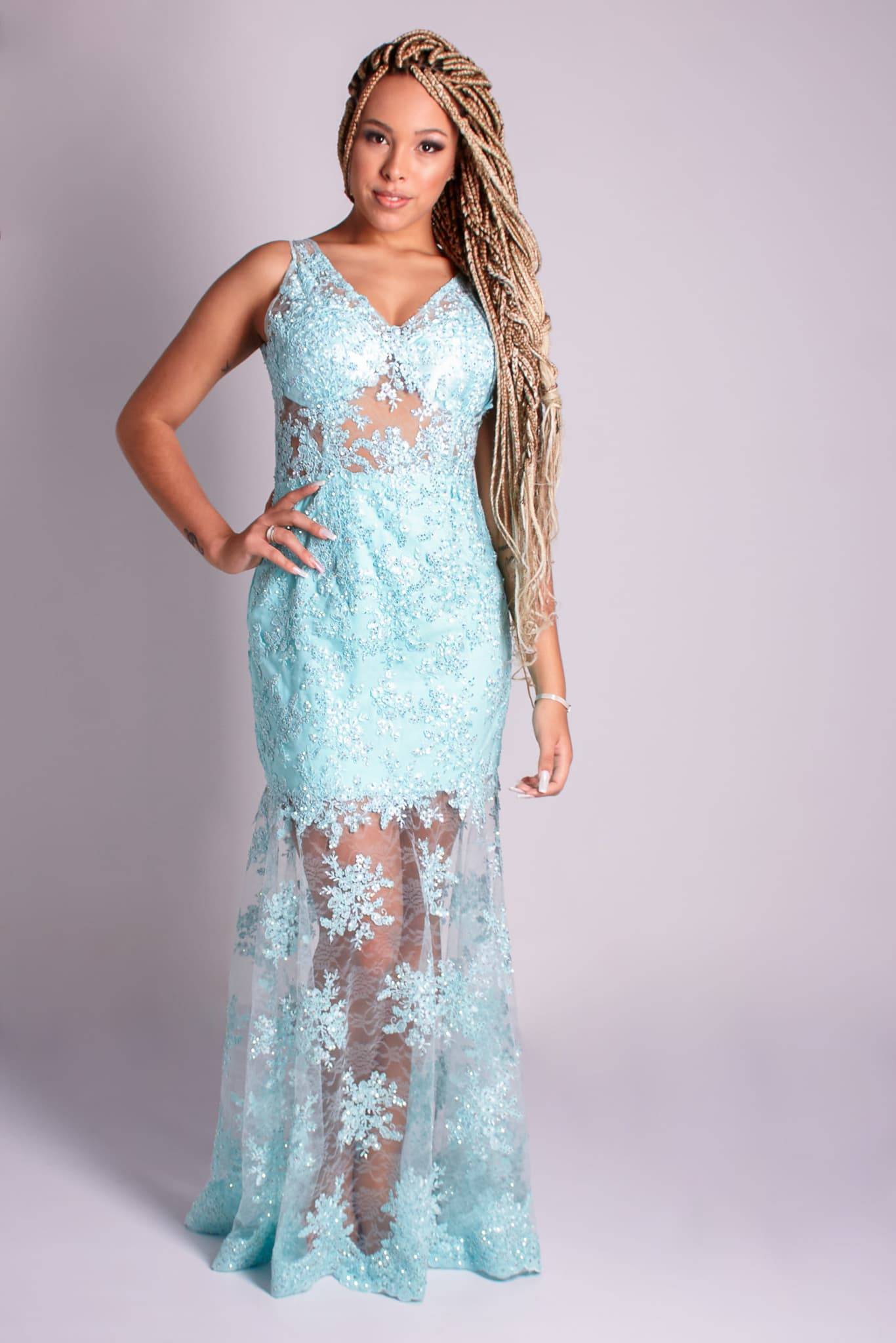 55 - vestido de renda tiffany com transparência