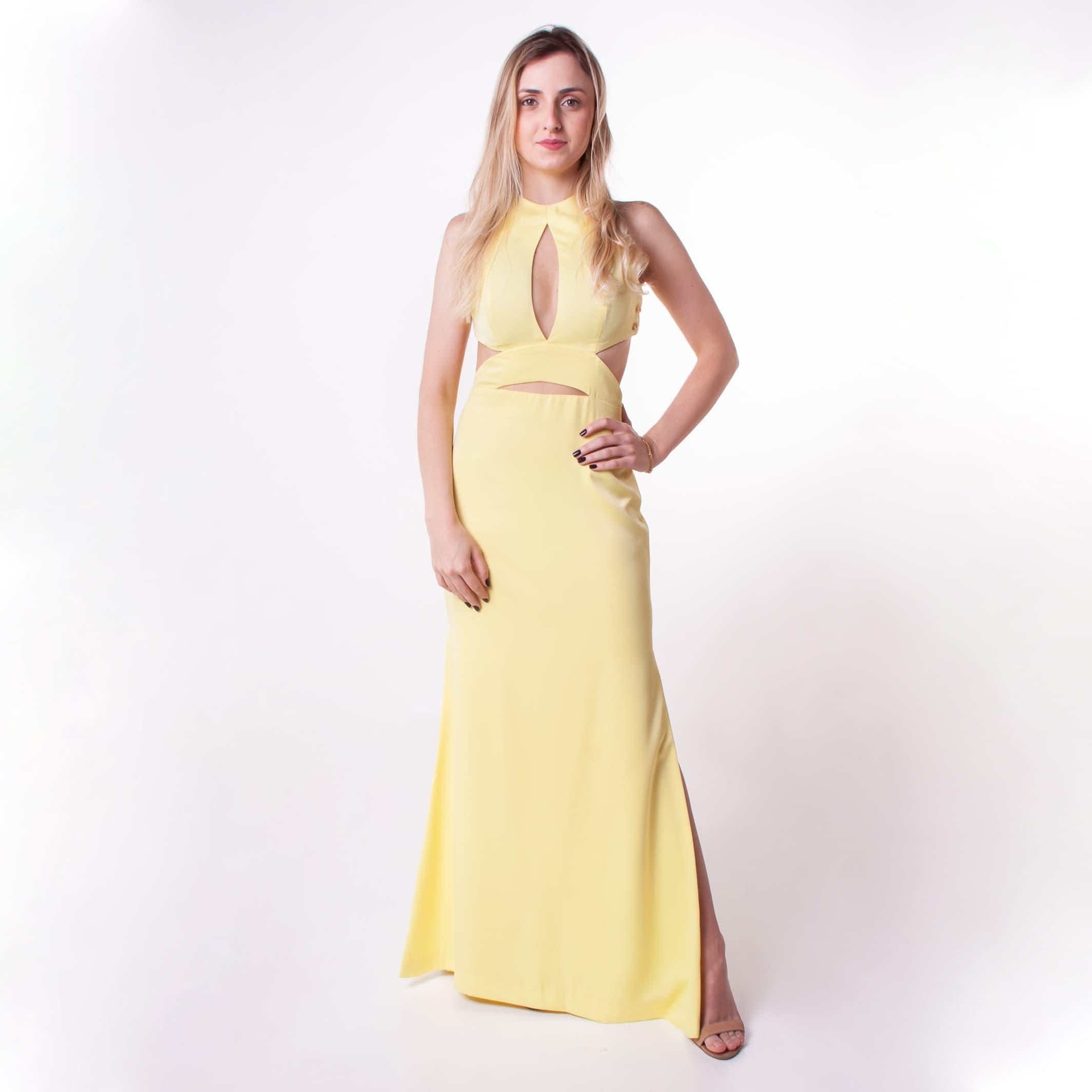 3 - Vestido amarelo com recortes