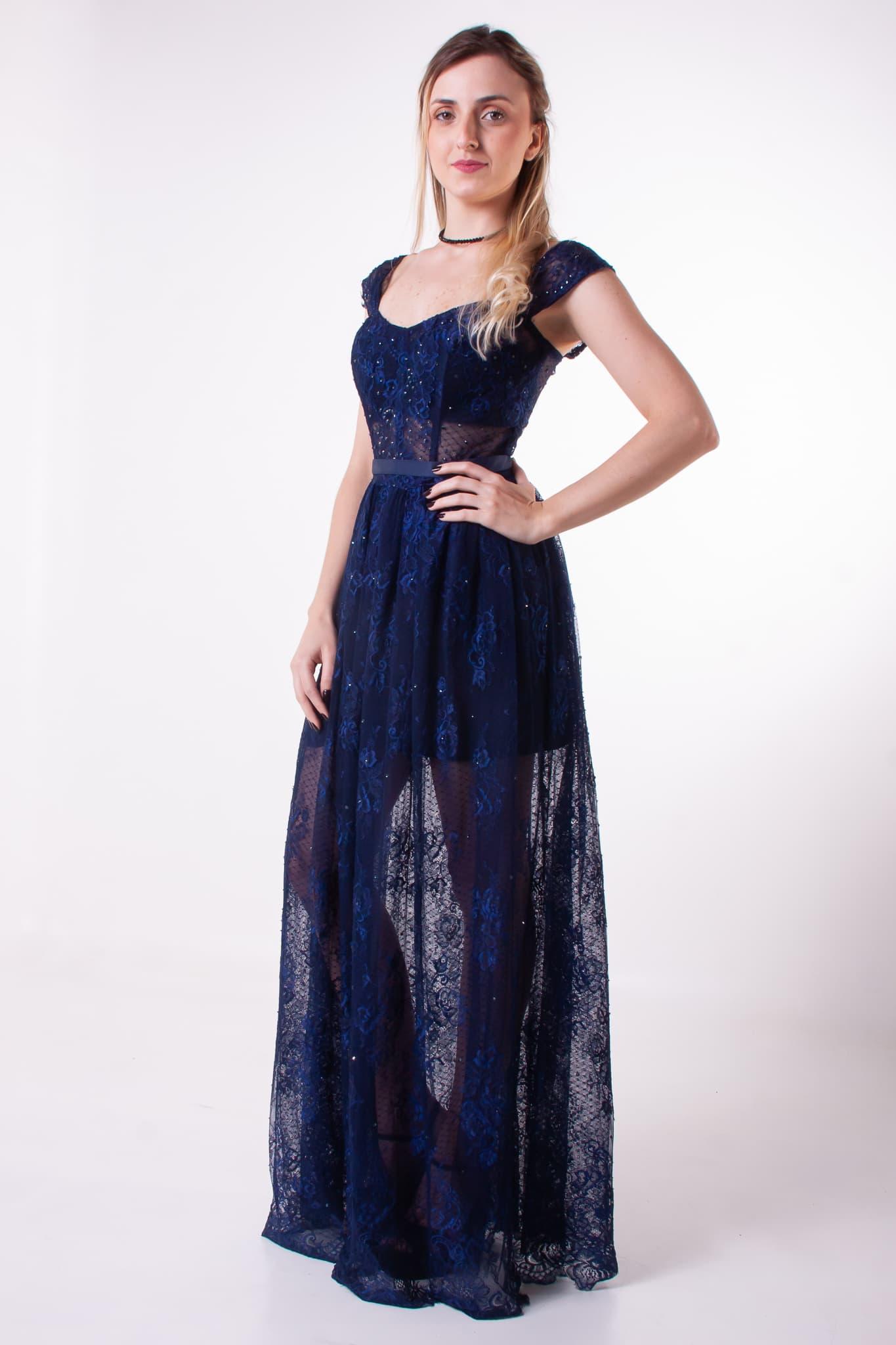 72 - Vestido azul marinho de renda com cinto estilo Dior