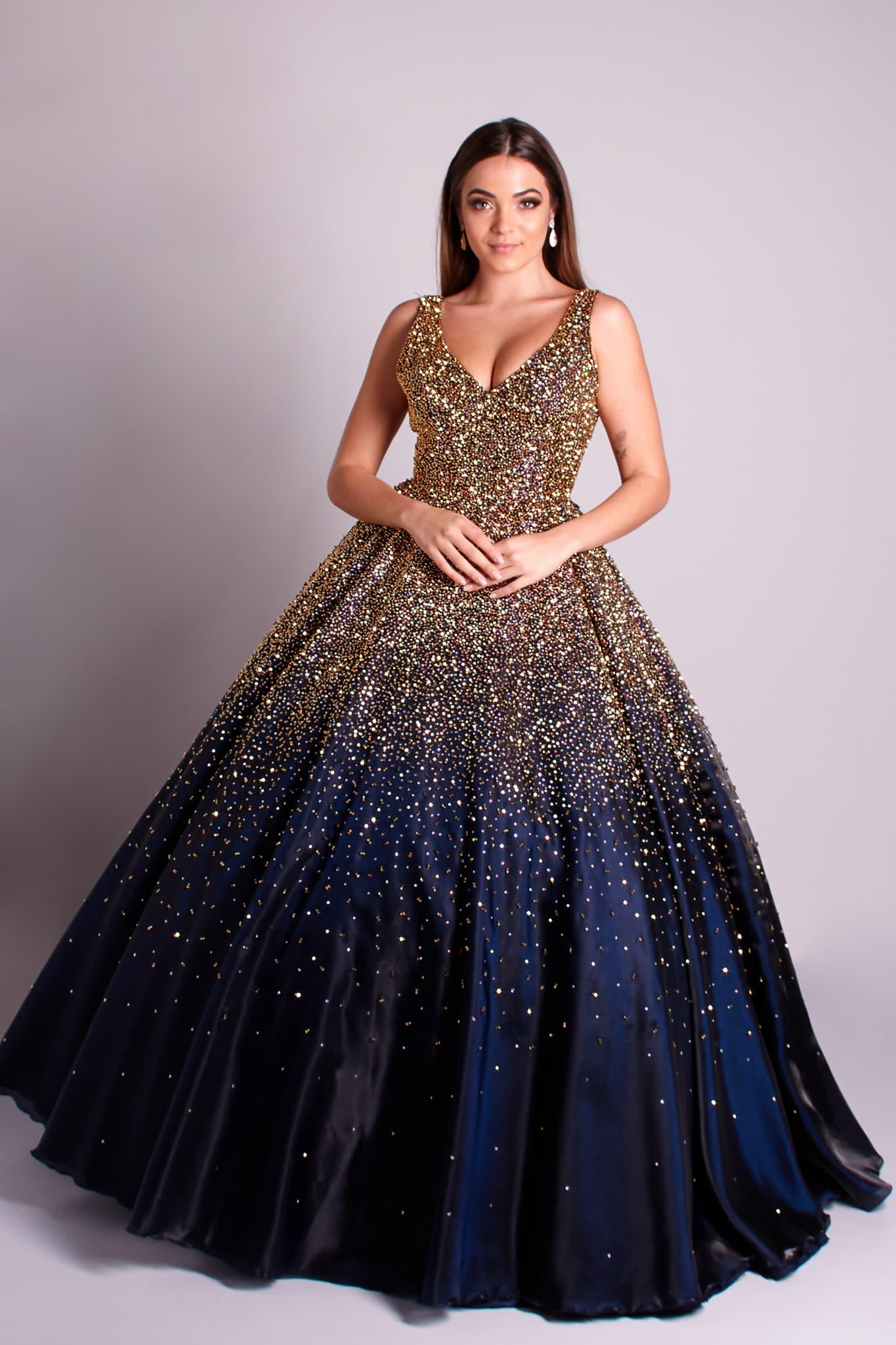142 - Vestido azul marinho bordado à mão em cristais dourados