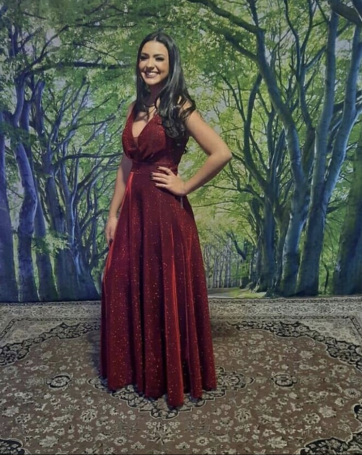 113 - Vestido marsala de lurex