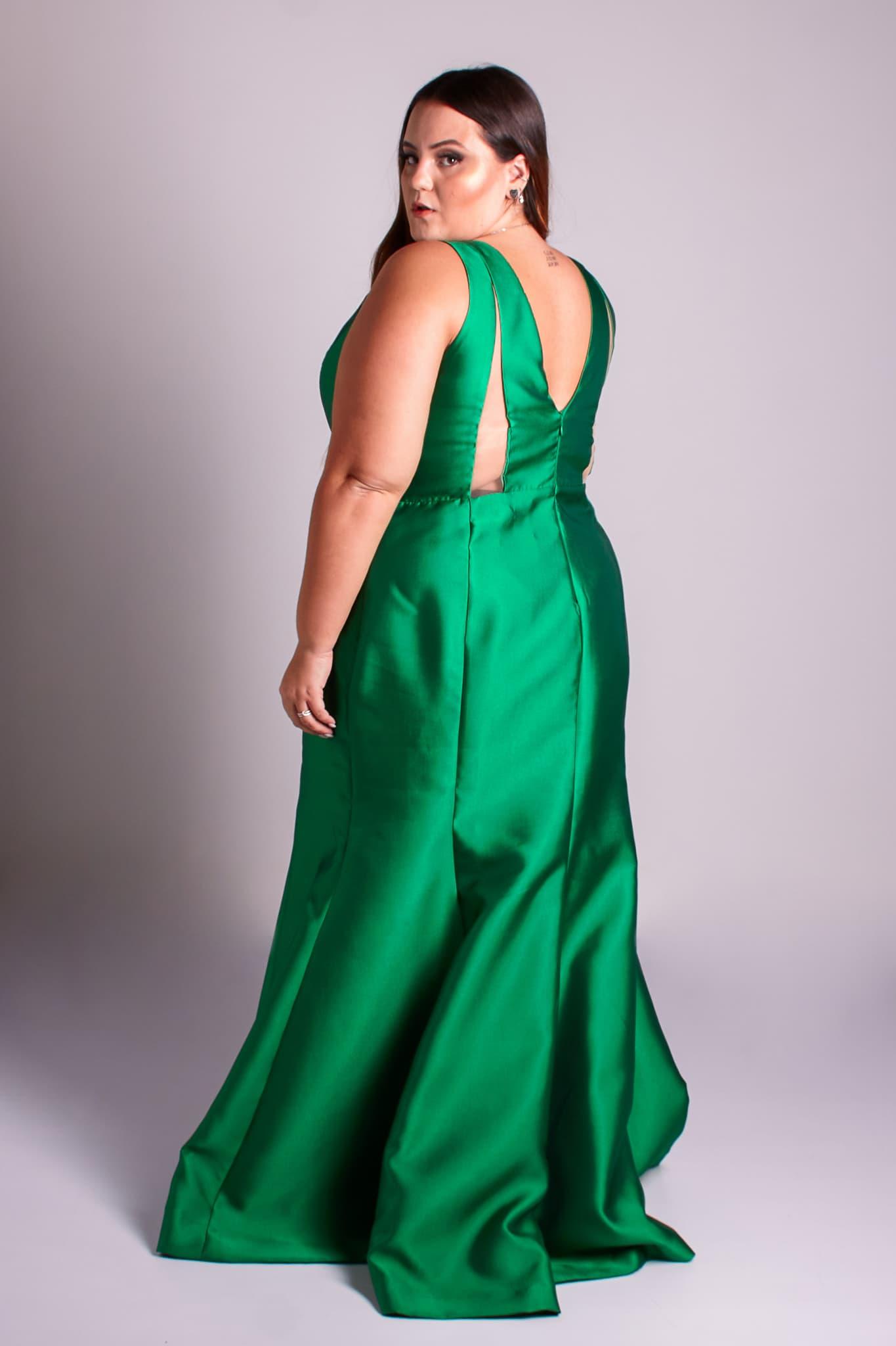 65 - vestido verde esmeralda de zibeline