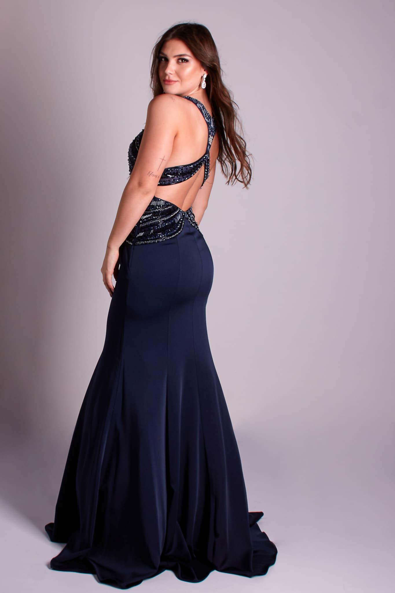 76 - vestido azul marinho sereia com decote nas costas
