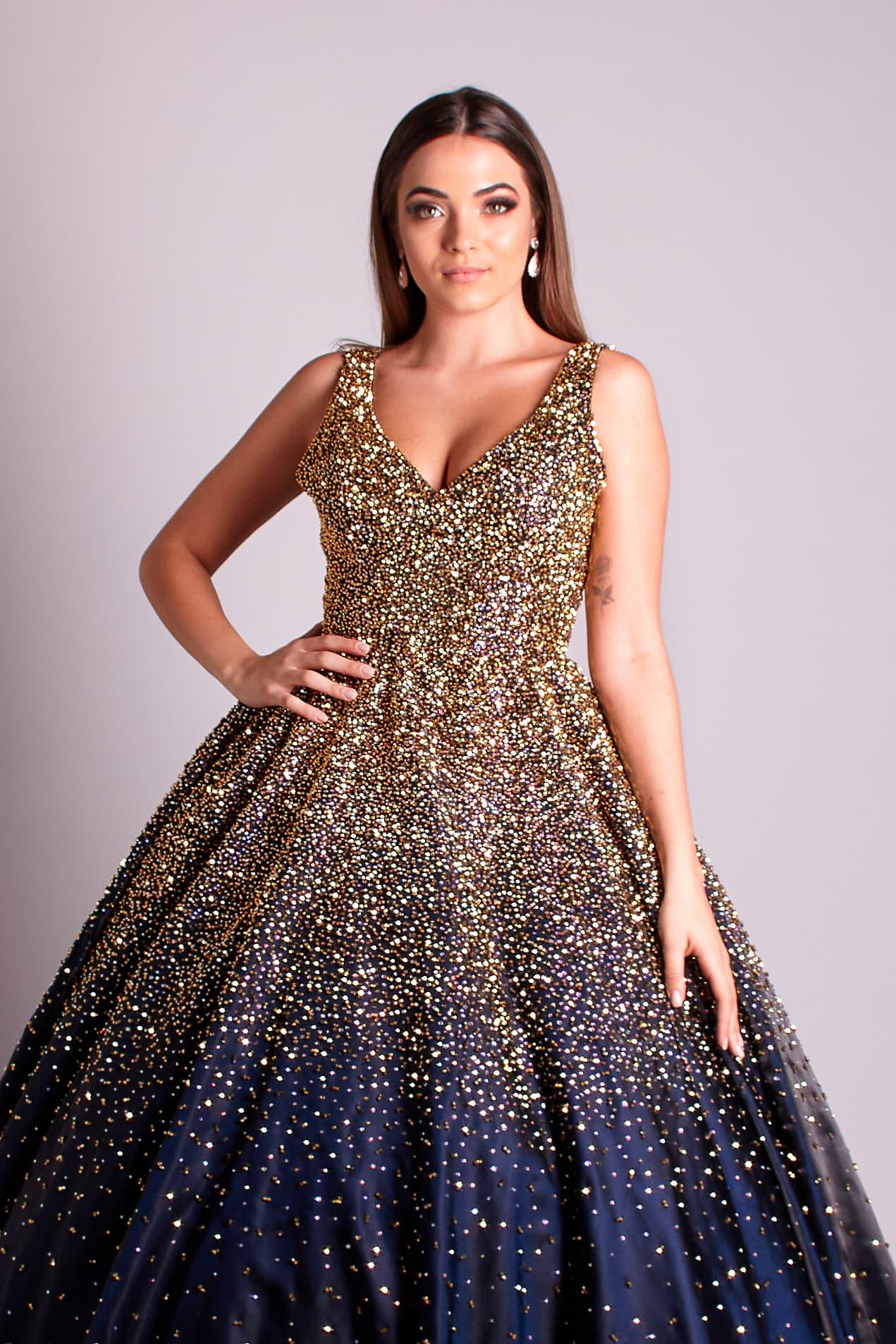 148 - Vestido azul marinho todo bordado à mão em cristais dourados