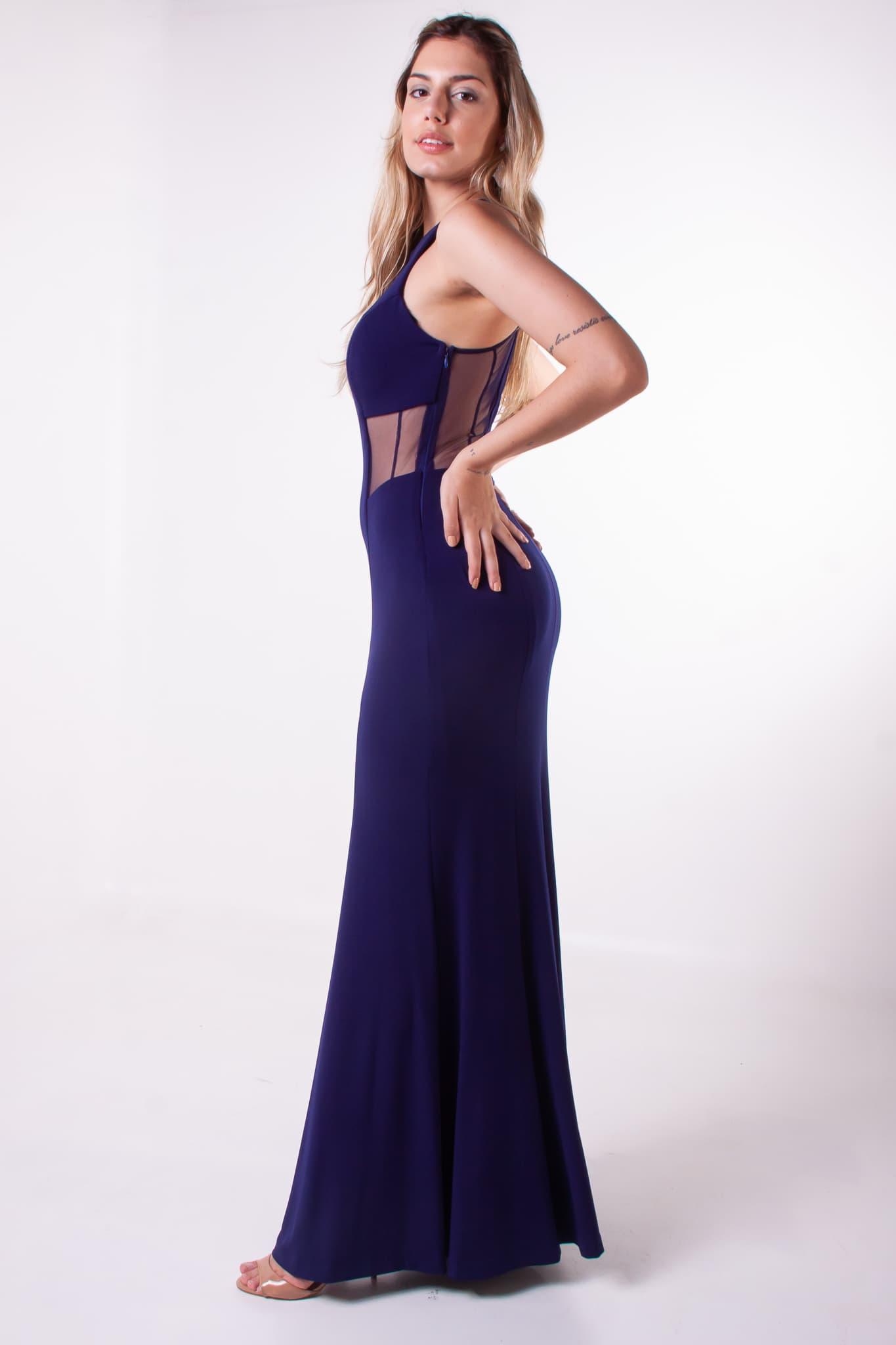 79 - Vestido azul marinho sereia com transparência