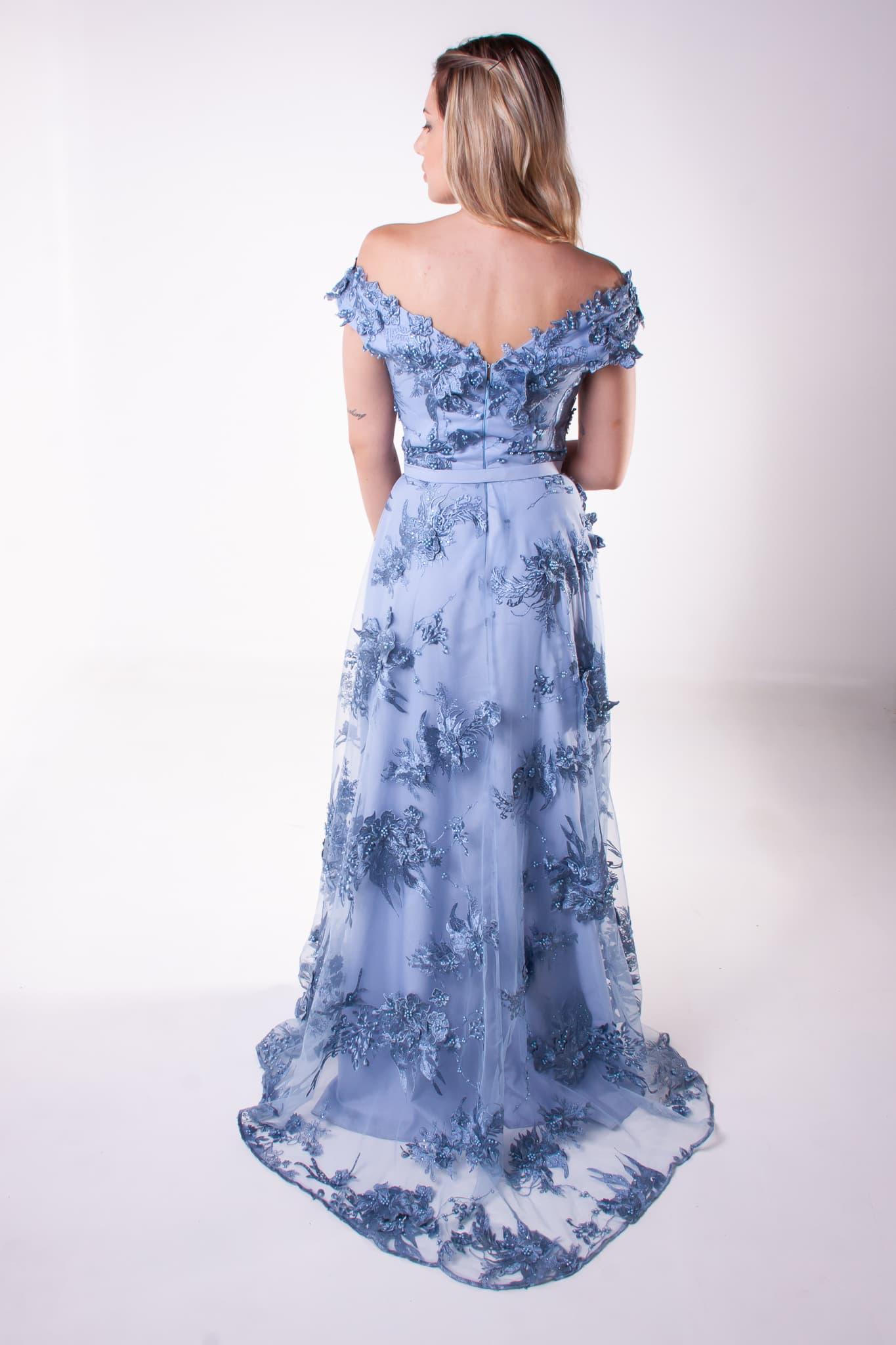 45 - Vestido azul serenity de renda ombro a ombro