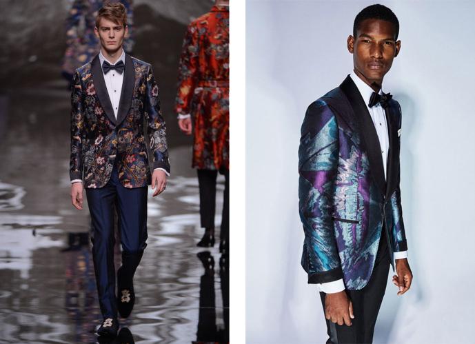 Dois modelos branco e negro, com smokings coloridos e com cores vintages e gravata de borboleta preta