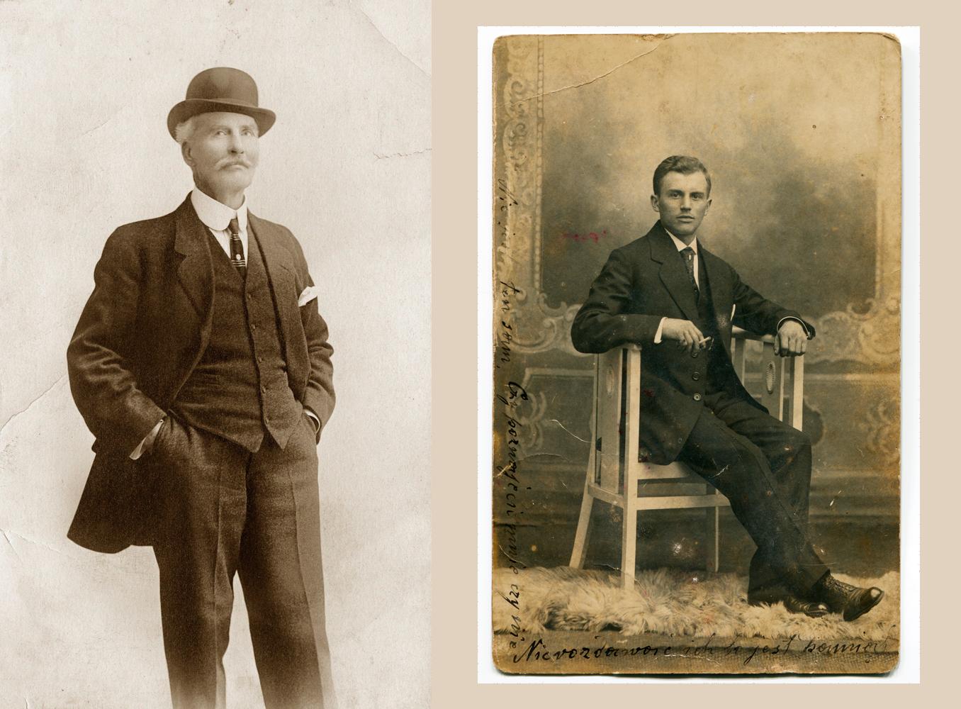 Homens com ternos antigos pretos e chapéus